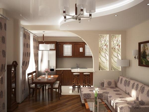 Идея дизайна кухни-гостиной с организацией рабочего пространства 1